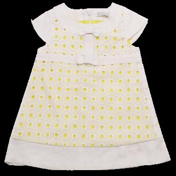 Rochiță elegantă alb și galben 3-6 luni (68cm)