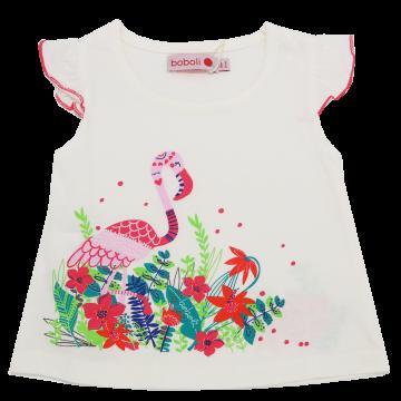 Tricou alb cu imprimeu flamingo Boboli 6-9 luni (74 cm)