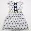 Rochie albă cu imprimeu flori bleumarin