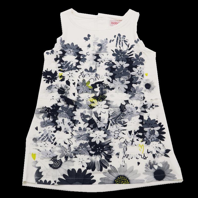 Rochiță albă cu floricele aplicate din voal