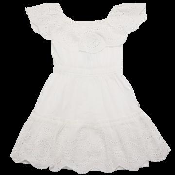 Rochiță albă cu volănașe brodate Boboli 4 ani (104cm)