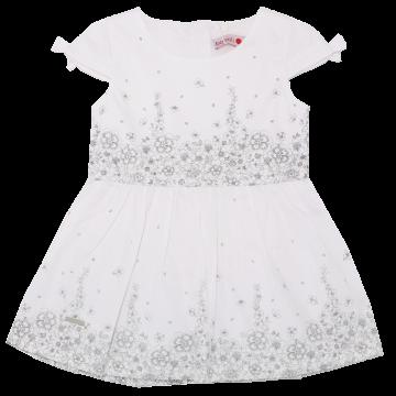 Rochiță albă cu imprimeu flori gri