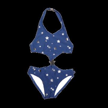 Costum de baie întreg albastru cu steluțe