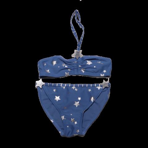 Costum de baie albastru cu steluțe strălucitoare