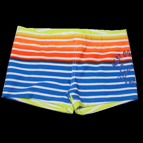 Slip de baie cu dungi portocalii și albastre