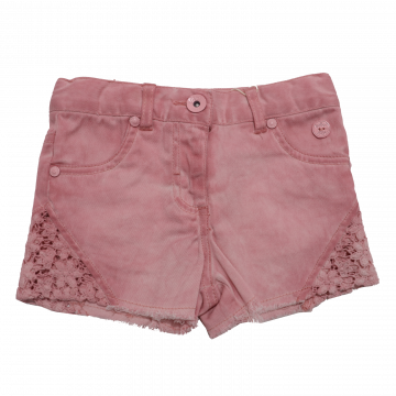 Pantaloni scurți roz din denim și dantelă