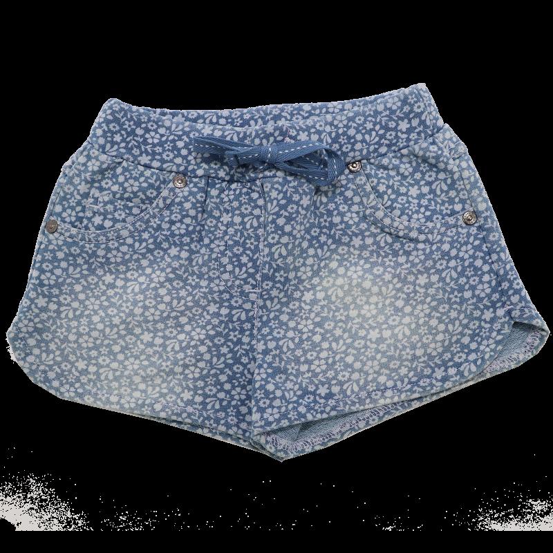 Pantaloni scurți albaștri cu imprimeu floricele