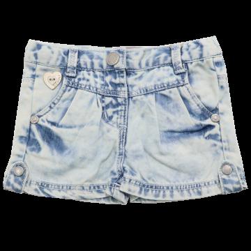 Pantaloni scurți bleu decolorat din denim