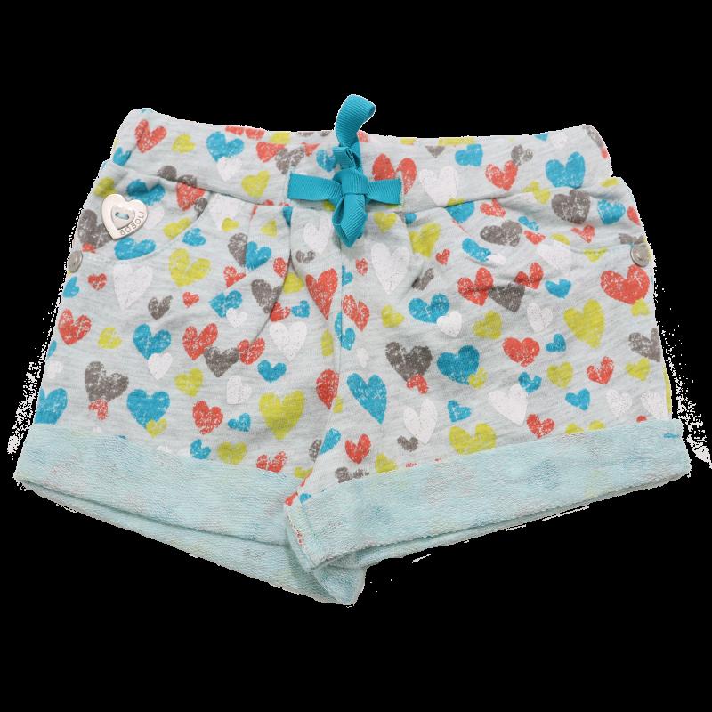 Pantaloni scurți gri cu imprimeu inimioare
