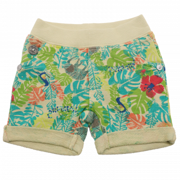 Pantaloni scurți verzi cu imprimeu junglă Boboli 1-3 luni (62cm)