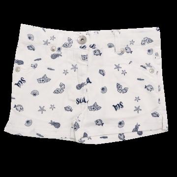 Pantaloni scurți albi cu imprimeu marin