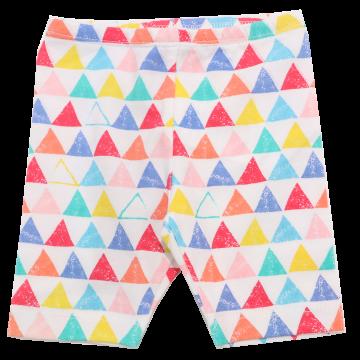 Colanți albi trei sferturi cu imprimeu triunghiuri colorate  Boboli 1 lună (56cm), 1-3 luni (62cm) și 3-6 luni (68cm)