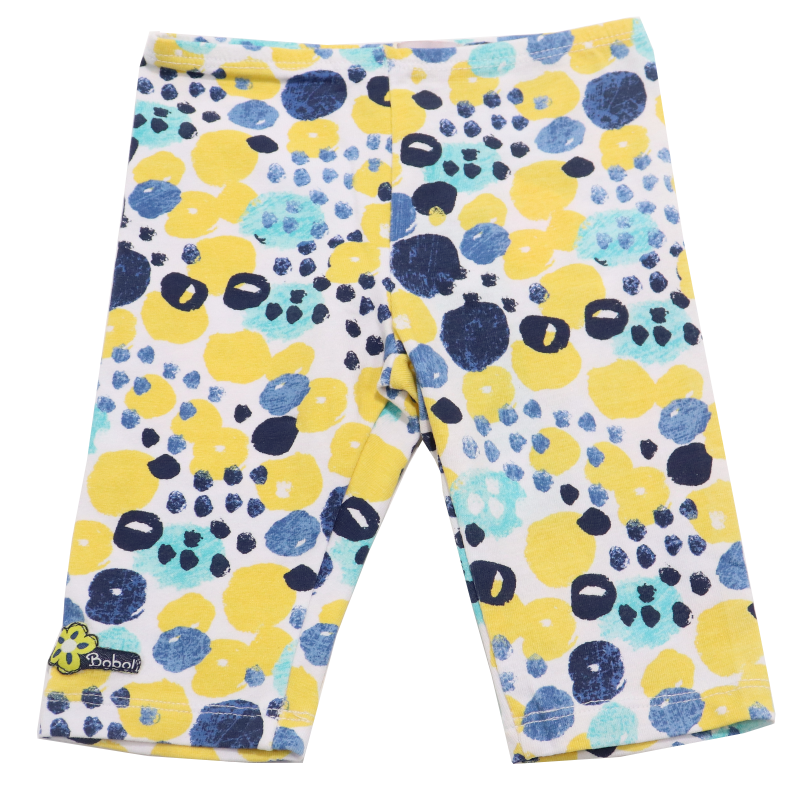 Colanți albi trei sferturi cu imprimeu galben, albastru și verde