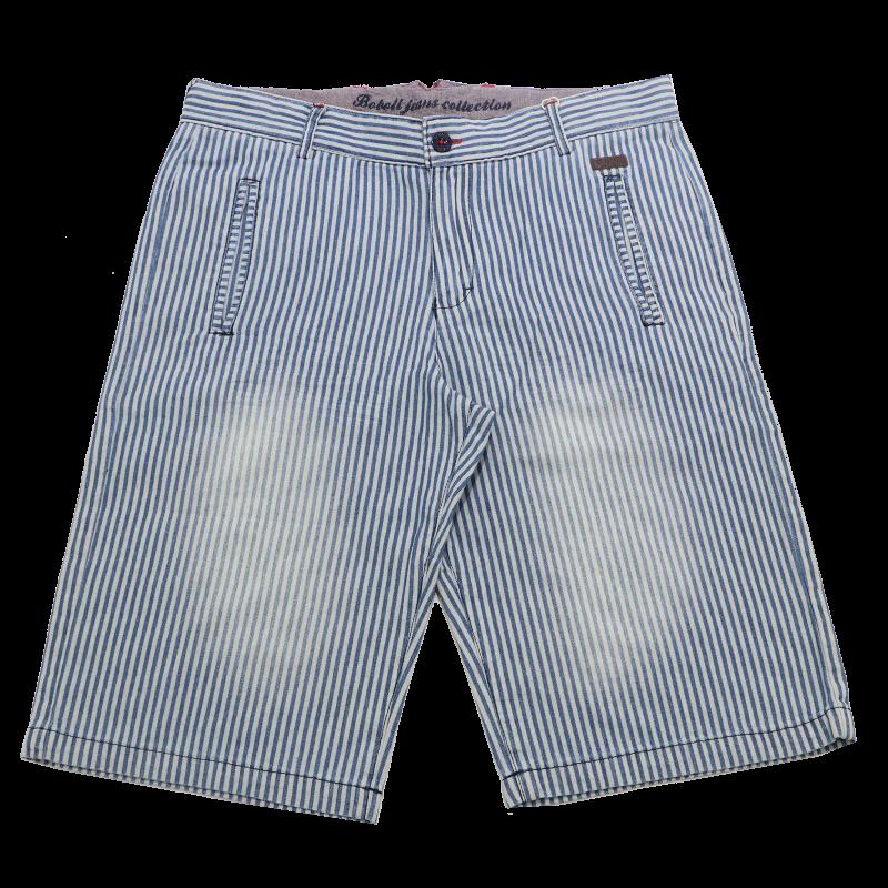 Pantaloni scurți bleu cu dungi albastre