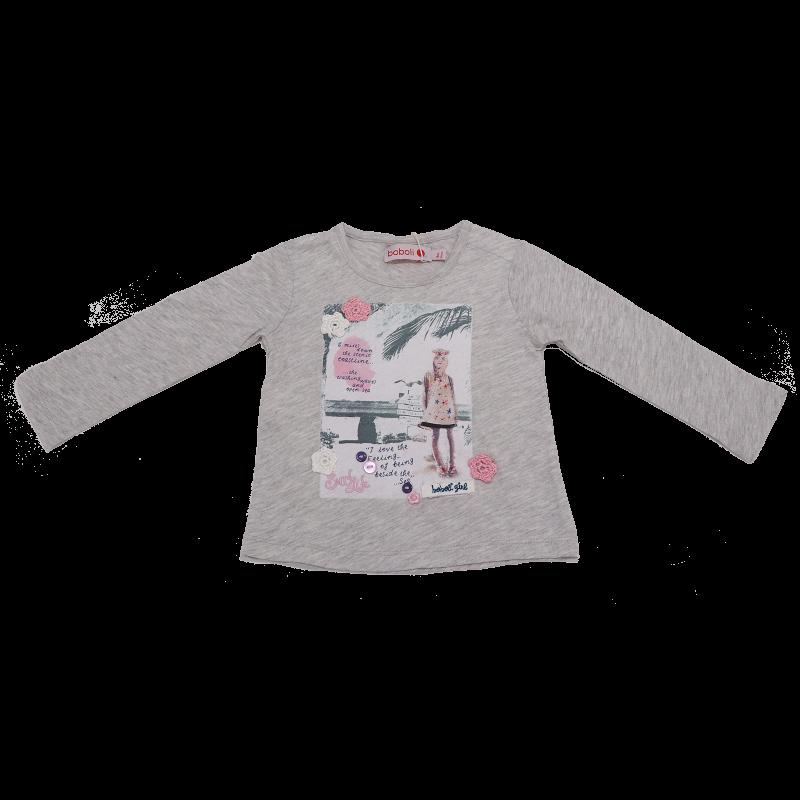 Bluză gri cu imprimeu și detalii cusute