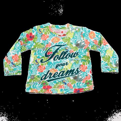 Bluză cu imprimeu frunze și flori Follow Your Dreams