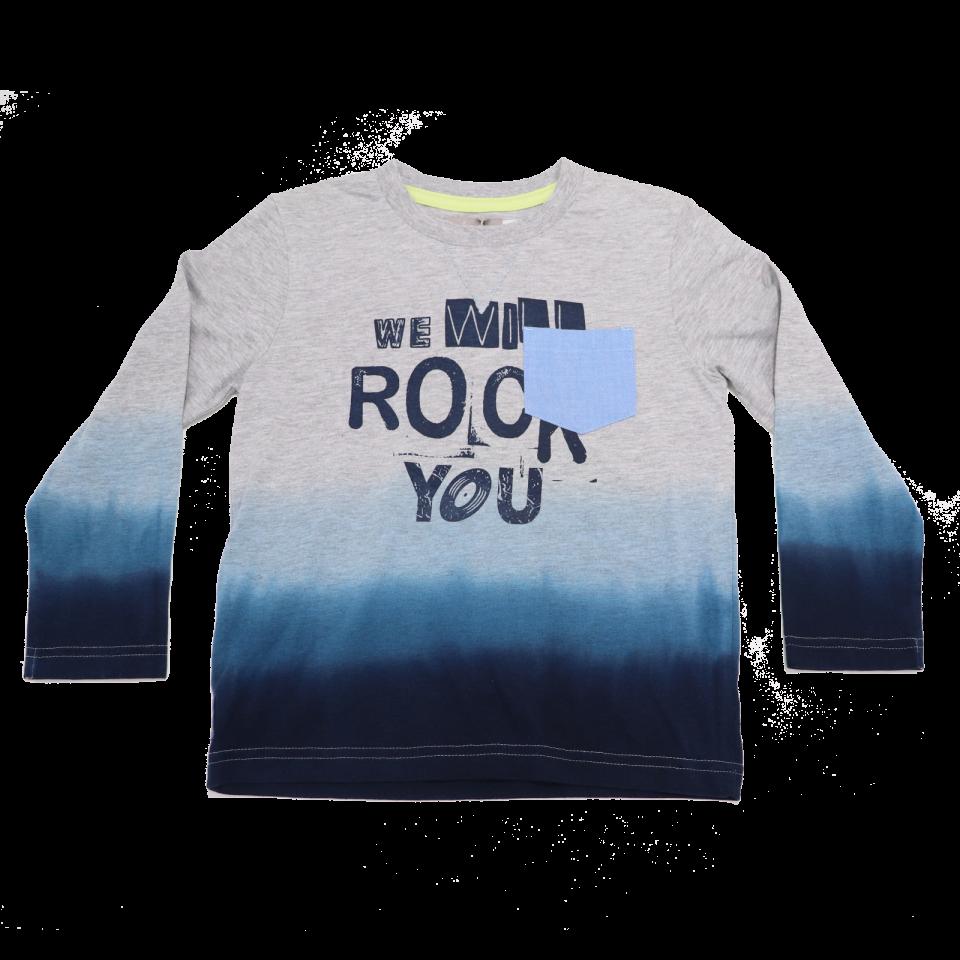 Bluză gri și degrade albastru We Will Rock You