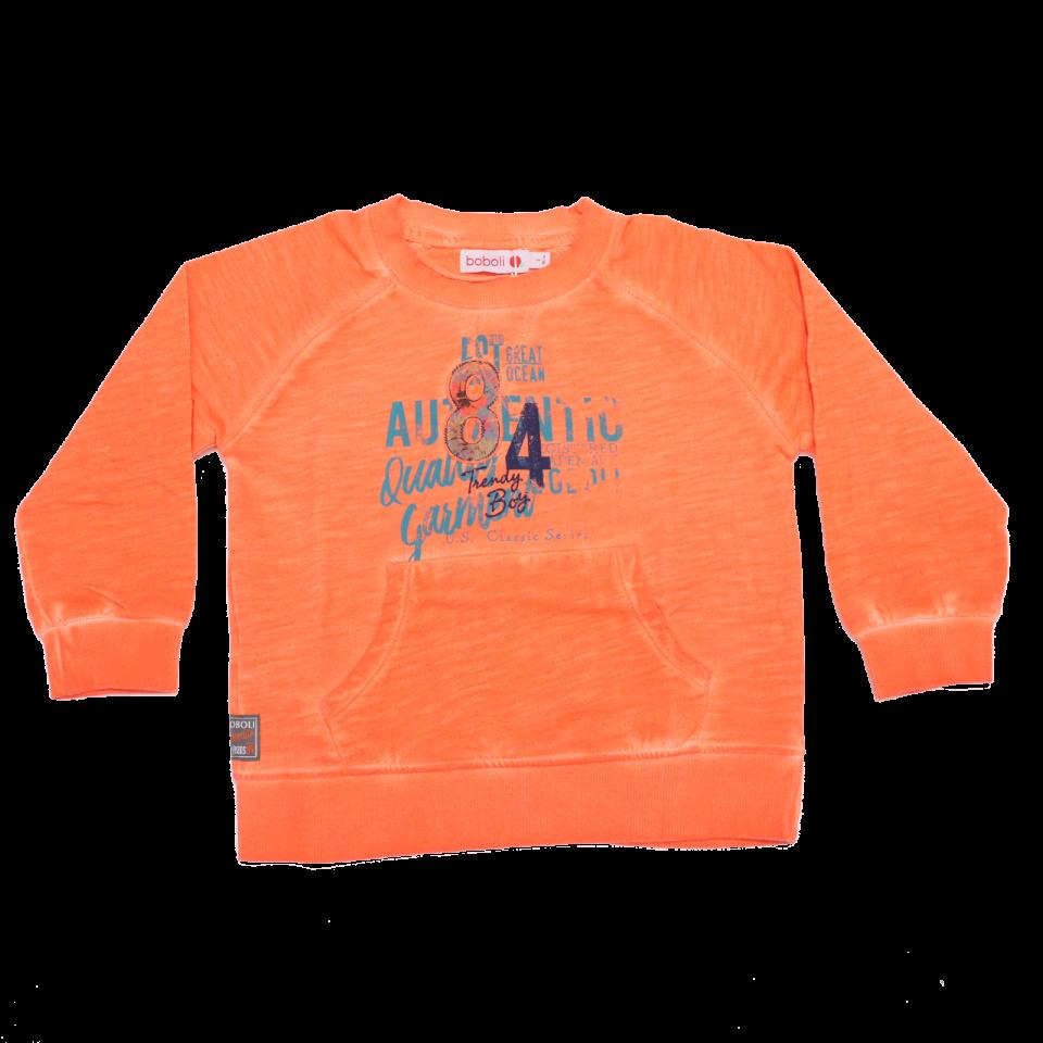 Bluză portocalie cu imprimeu și buzunar
