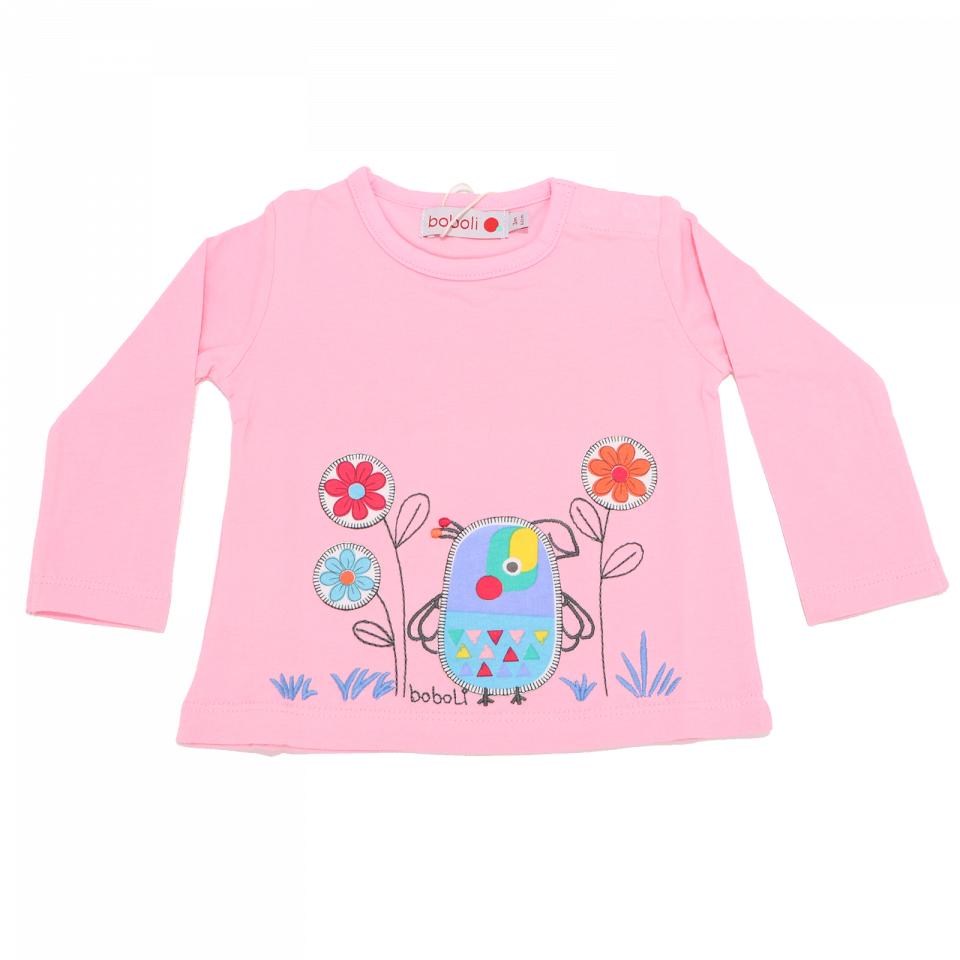 Bluză roz cu imprimeu cusut pasăre și flori