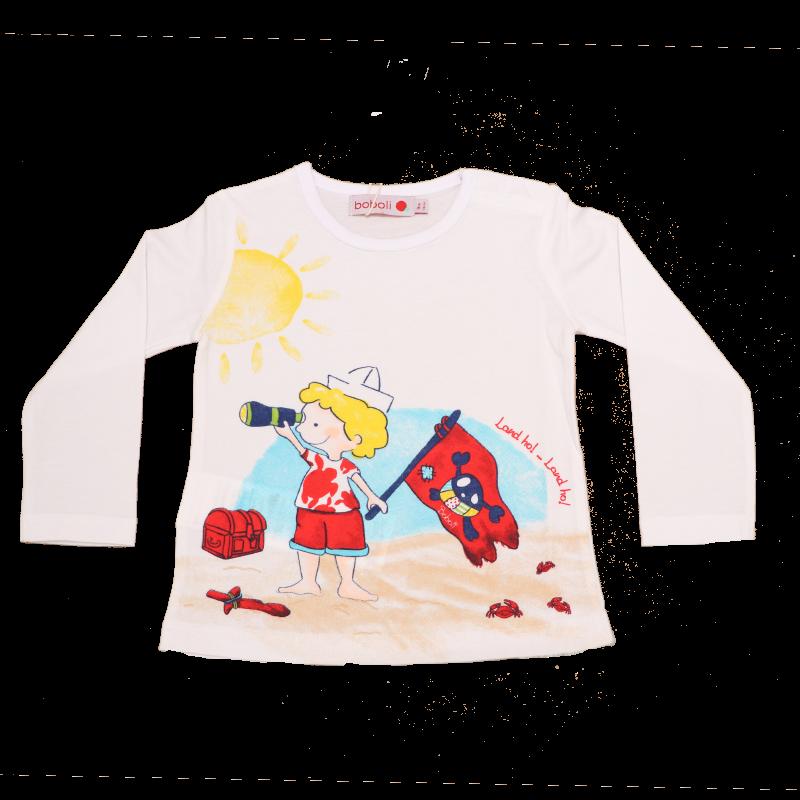 Bluză albă cu băiețel explorator