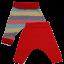 Pantaloni cu două fețe: roșii și cu dungulițe colorate
