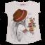 Tricou alb cu imprimeu fetiță cu pălărie