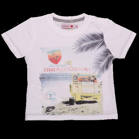 Tricou alb cu imprimeu California Surf Beach