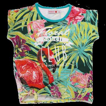 Tricou verde cu imprimeu flamingo și nod în talie