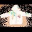 Hanorac alb cu imprimeu PARADISE și glugă detașabilă