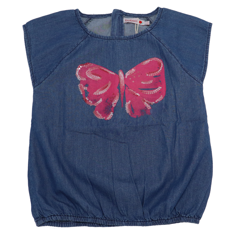 Tricou din denim subțire cu imprimeu fluturaș