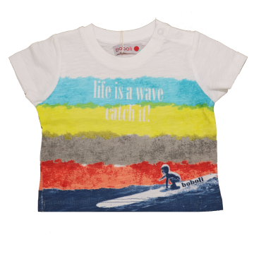 Tricou cu dungi life is a wave catch it!