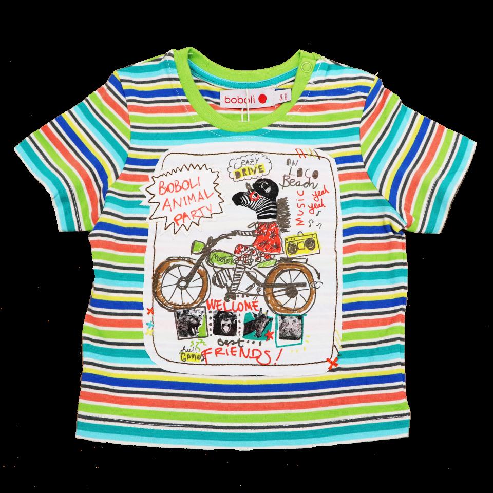 Tricou cu dungi și imprimeu zebră pe bicicletă