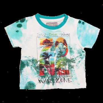 Tricou alb și verde Wave Zone
