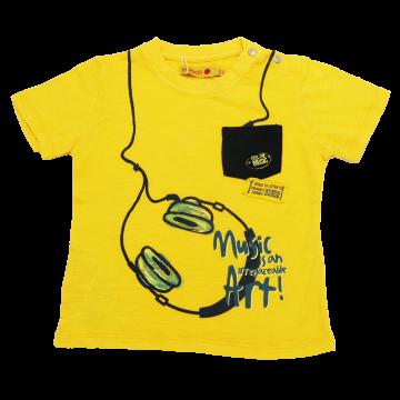 Tricou galben cu buzunar și imprimeu căști