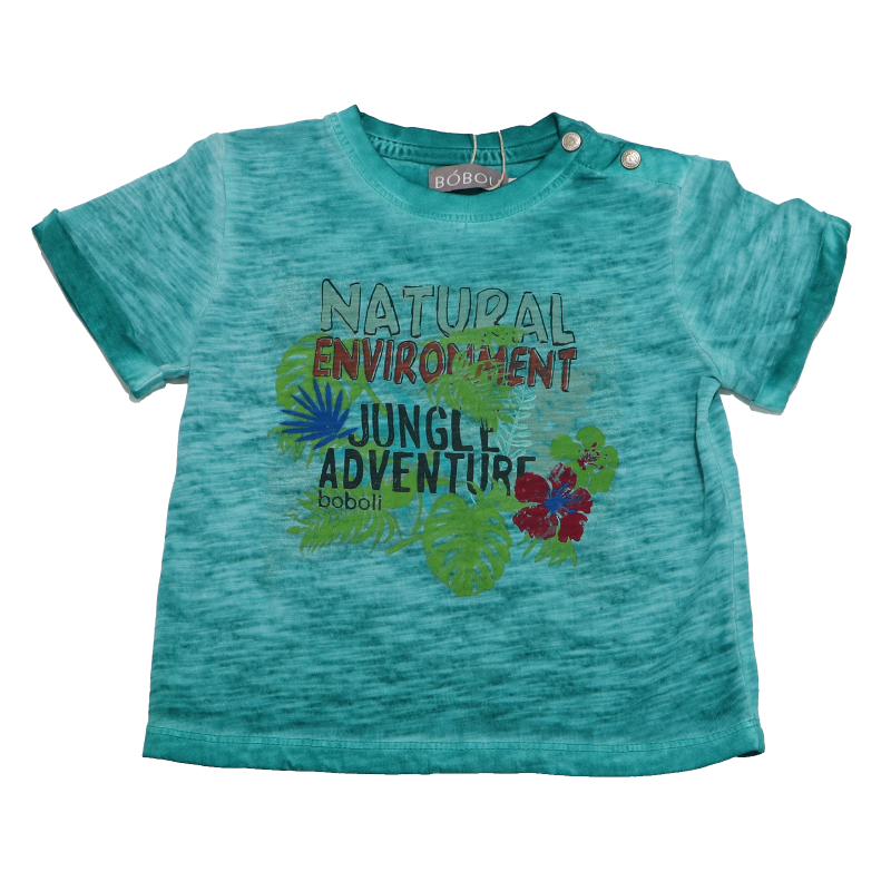 Tricou verde decolorat Jungle Adventure