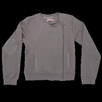 Jachetă gri cu sclipici discret și ștrasuri