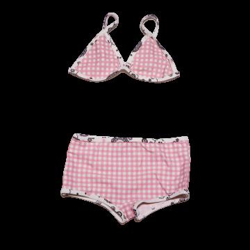 Costum de baie roz și alb