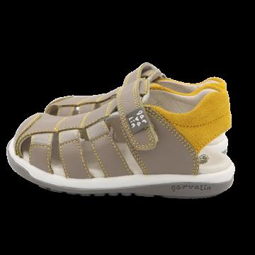 Sandale grej și galben din piele naturală Garvalin mărimea 26