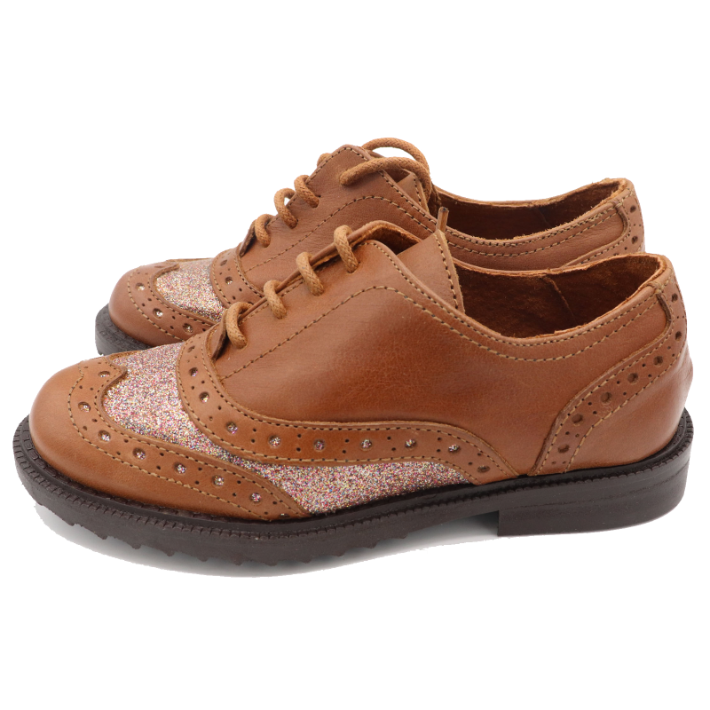 Pantofi maro cu sclipici