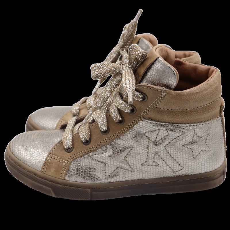 Pantofi sport  înalți maro/argintiu