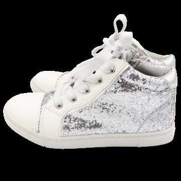 Pantofi sport înalti alb cu sclipici.Sprox.Mărimea 30