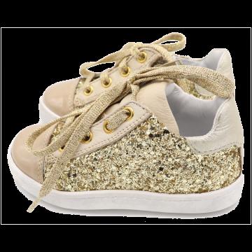 Pantofi aurii cu sclipici