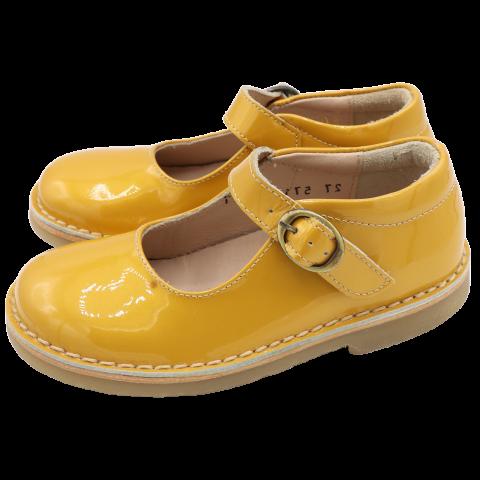 Pantofi  galbeni din piele naturală, lăcuită.  Mărimea 27