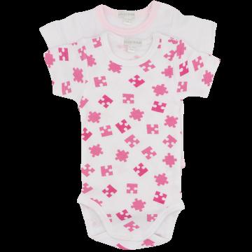 Set de 2 body-uri alb și roz cu mânecă scurtă , Liabel