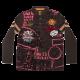 Bluză maro cu guler imprimeu și aplicații