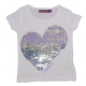 Tricou alb cu paiete reversibile în formă de inimă