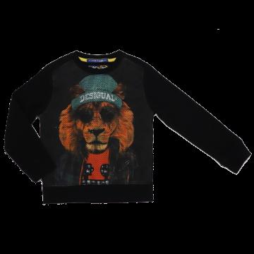Bluză cu mânecă lungă cu imprimeu leu cu cercel în nas