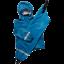 Set de ploaie albastru: geacă, pantaloni și sac