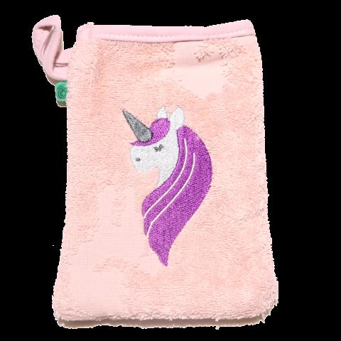 Mănușă de baie pentru bebeluși, roz cu model unicorn, din bumbac organic