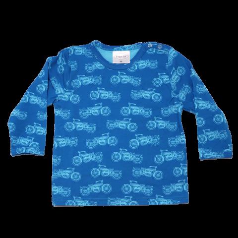 Bluză albastră cu imprimeu motociclete și capse pe umăr